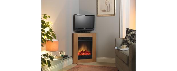 Dimplex launched the Corelli Oak compact corner fireplace suite